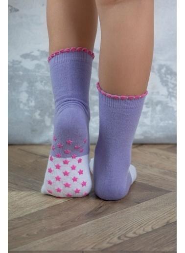 Katia & Bony 2'Li Paket Unicorn Desenli Kız Çocuk Soket Çorap - Mor / Pembe Lila